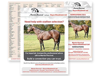 Boyce Bloodstock nominations trifold leaflet/Stallion Book advertisement and links to further designs created by Blue Violet