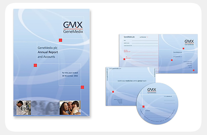GMX Annual Report & Accounts/business stationery designed by Blue Violet