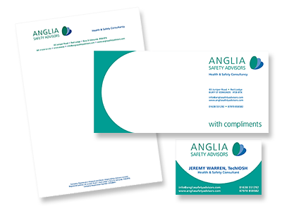 Anglia Safety Advisors stationery and links to further designs created by Blue Violet