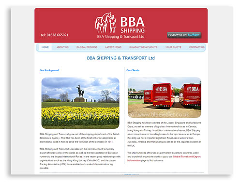 BBA Shipping and Transport website designed by Blue Violet