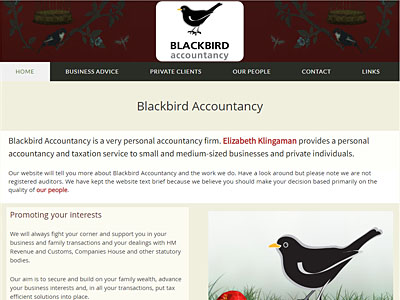 Blackbird Accountancy website and links to further websites created by Blue Violet