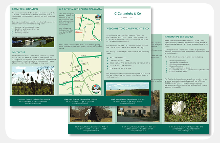 G Cartwright & Co trifold leaflet designed by Blue Violet