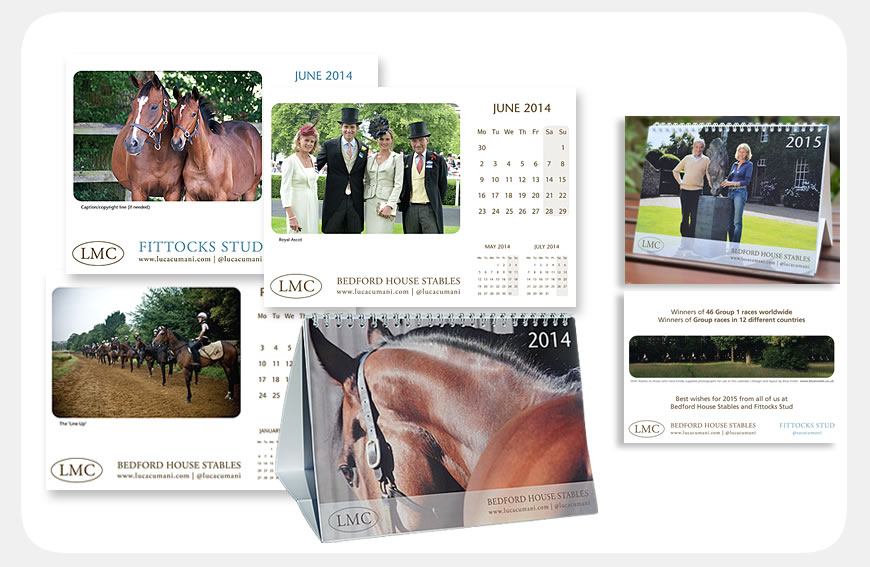 Luca Cumani Racing and Fittocks Stud calendars designed by Blue Violet