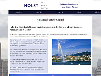 Holst Real Estate Capital Ltd website and links to further websites created by Blue Violet