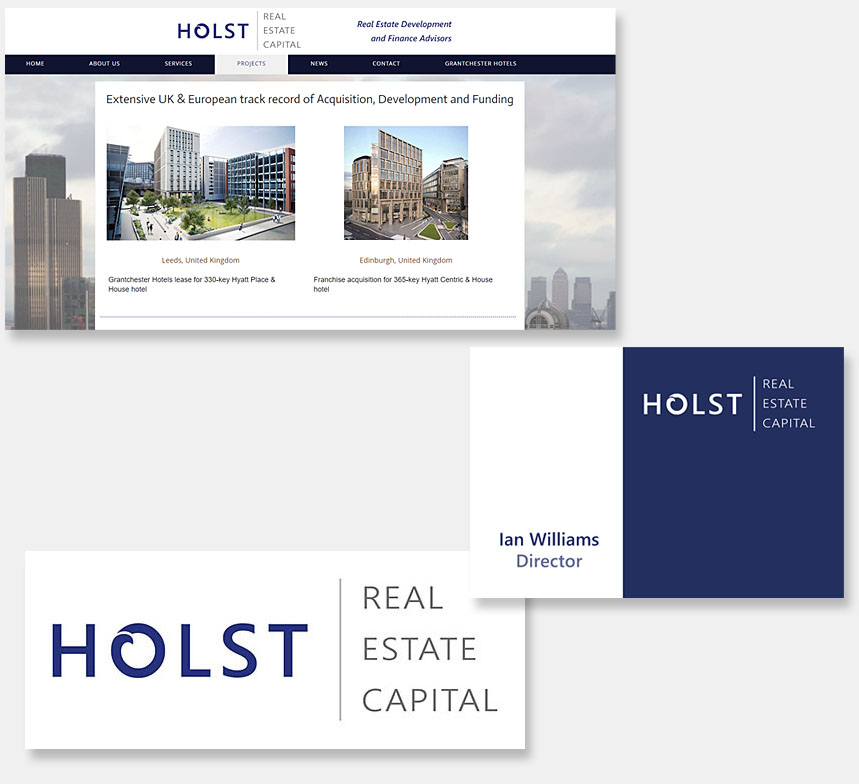Holst Real Estate Capital logo, stationery and website design