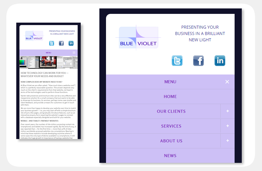 Blue Violet website viewed on a smartphone