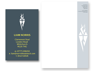 Norris Bloodstock stationery and links to further designs created by Blue Violet
