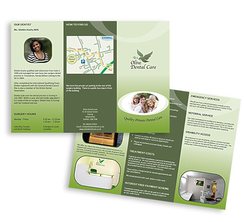 Olive Dental Care trifold leaflet and capacity wallets