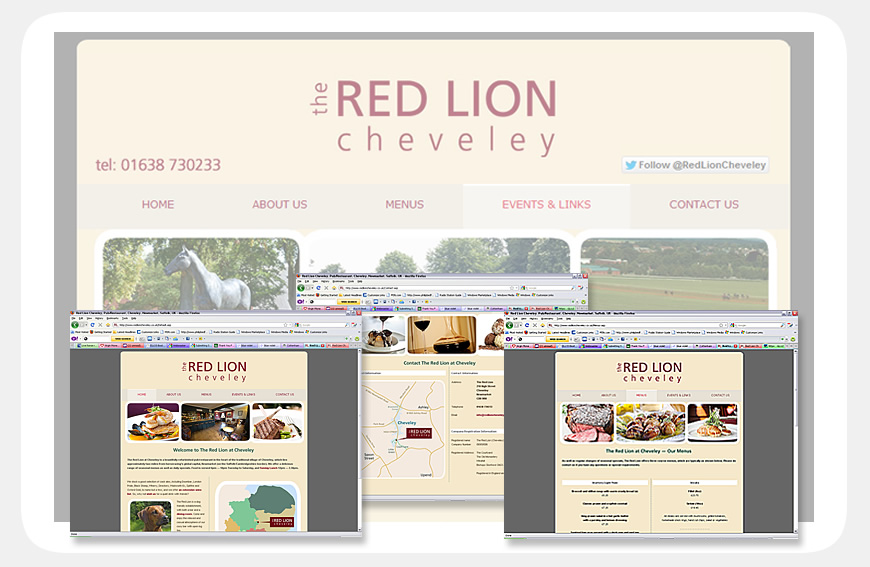 Red Lion at Cheveley website designed by Blue Violet