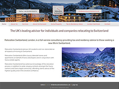 Relocation Switzerland website and links to further websites created by Blue Violet