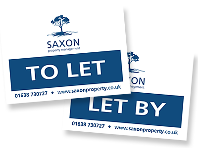 Saxon Property letting boards and links to further designs created by Blue Violet